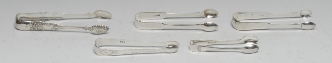 A pair of Victorian Scottish silver Queen's pattern sugar bows, 16.5cm long, Lawrence Aitchison,