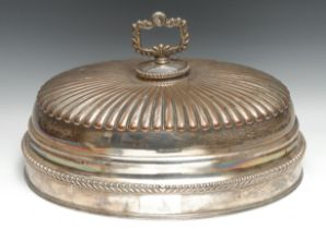 A large George III Old Sheffield Plate half-fluted dome game or meat dish cover, shell crested