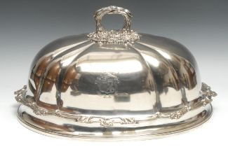 A 19th century fluted meat dome, crested, branch handle, cast leafy scroll quarter girdle, 50cm