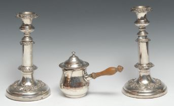 A pair of post-Regency Old Sheffield Plate telescopic candlesticks, campana sconces, applied