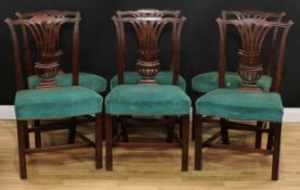 A set of six George III mahogany dining chairs, cupid's bow cresting rails carved with
