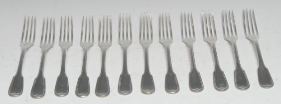 A set of twelve 19th century German silver Fiddle pattern dessert forks, marked 13, 17oz