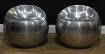 Modern Design - a pair of Igneous aluminium 'ball' chairs, designed by Finn Stone, each cast with