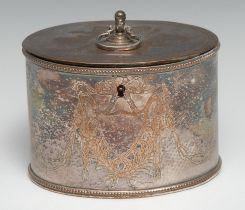 A George III Old Sheffield Plate oval tea caddy, engraved with a vacant shield shaped cartouche,