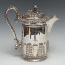 A Regency Old Sheffield Plate flagon, chased and applied with acanthus, scroll handle, 22.5cm