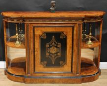 A Victorian walnut, ebonised and marquetry break-centre credenza, slightly oversailing top above a