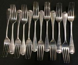 A set of twelve William IV Old English pattern dessert forks, Samuel Hayne & Dudley Cater, London