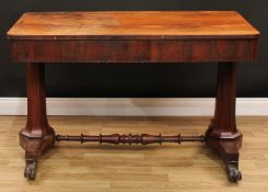 An unusual William IV rosewood metamorphic combination library table writing desk, rounded