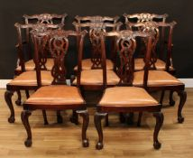 A set of eight Chippendale Revival mahogany dining chairs, comprising a pair of carvers and six side