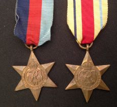 WW2 British 1939-45 Star and an Africa Star. Both complete with original ribbons.