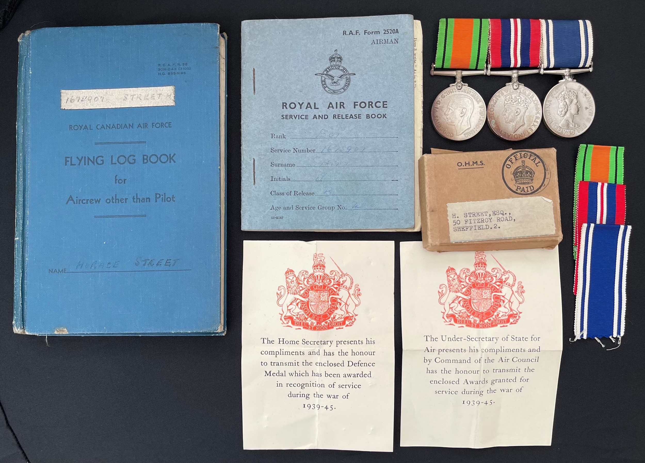 WW2 British RAF Navigators Log book, Service & Release Book and Medals to 1675907 Sgt Horace Street,