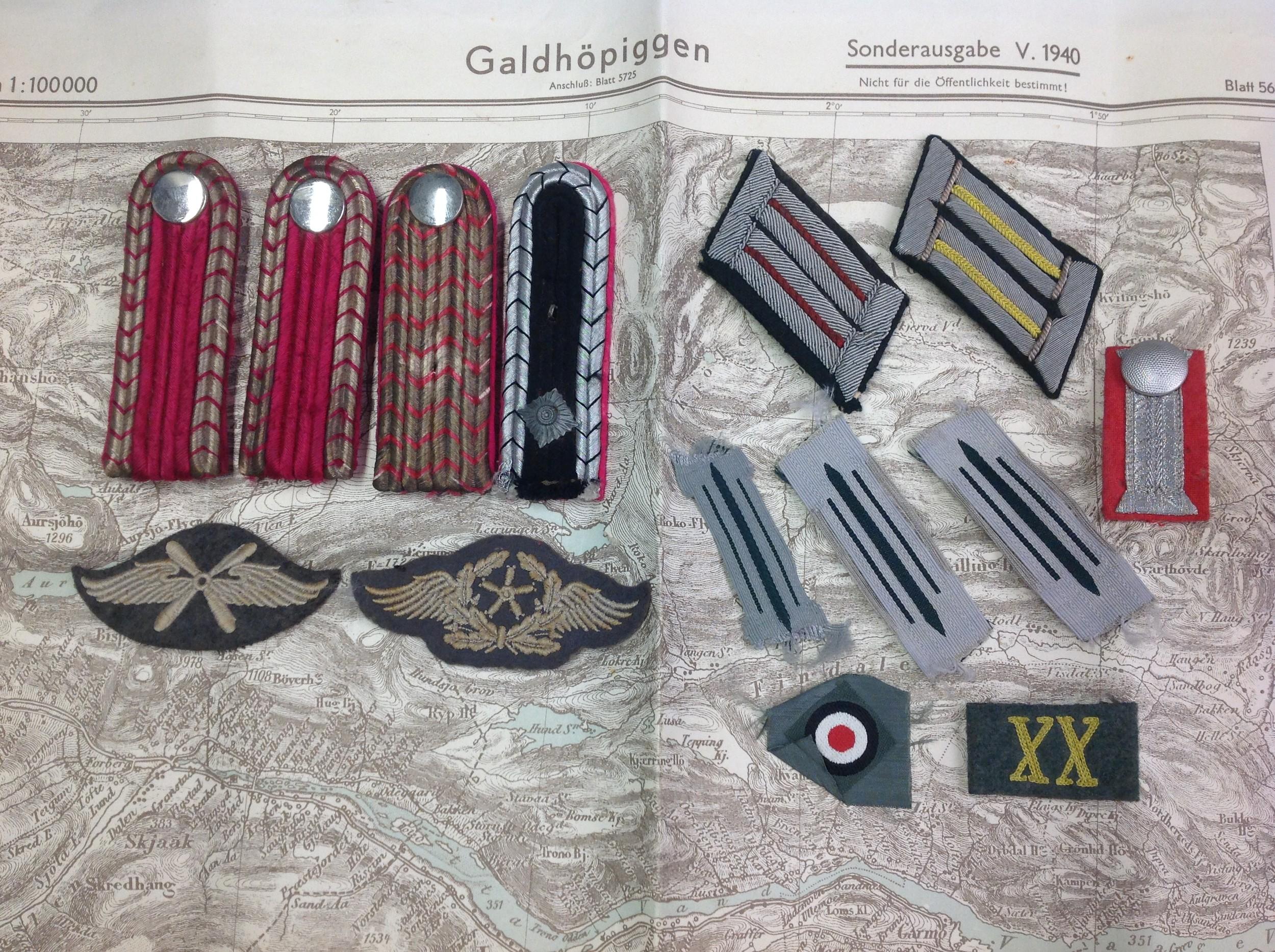 WW2 Third Reich mixed Heer, Luftwaffe trade badgesand Fire Police insignia to include collar Litzen,