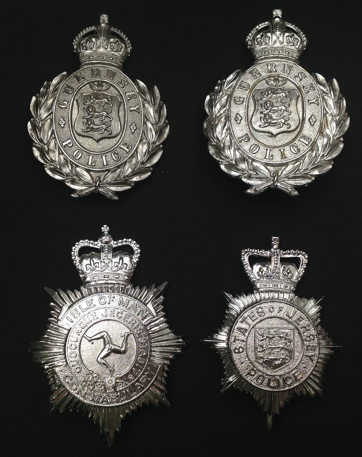 Kings Crown Guernsey Police Helmet Plates x 2: Queens Crown States of Jersey Helmet Plate: Queens