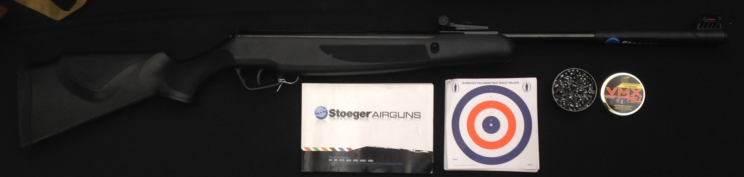Stoeger Model X20 .22 cal Air Rifle serial no. STG1615597. 425mm long barrel . Black ABS stock and