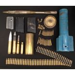 A collection of INERT & FFE Cartridge cases and magazine: Pair of British Army 7.62mm SLR