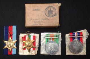WW2 British Royal Armoured Corps Medal group to Mr RW Diggle of Nottingham, complete with named
