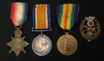 WW1 British Medal Group to 11995 Sgt WH Lockwood, Yorkshire Light Infantry comprising of 1914-15