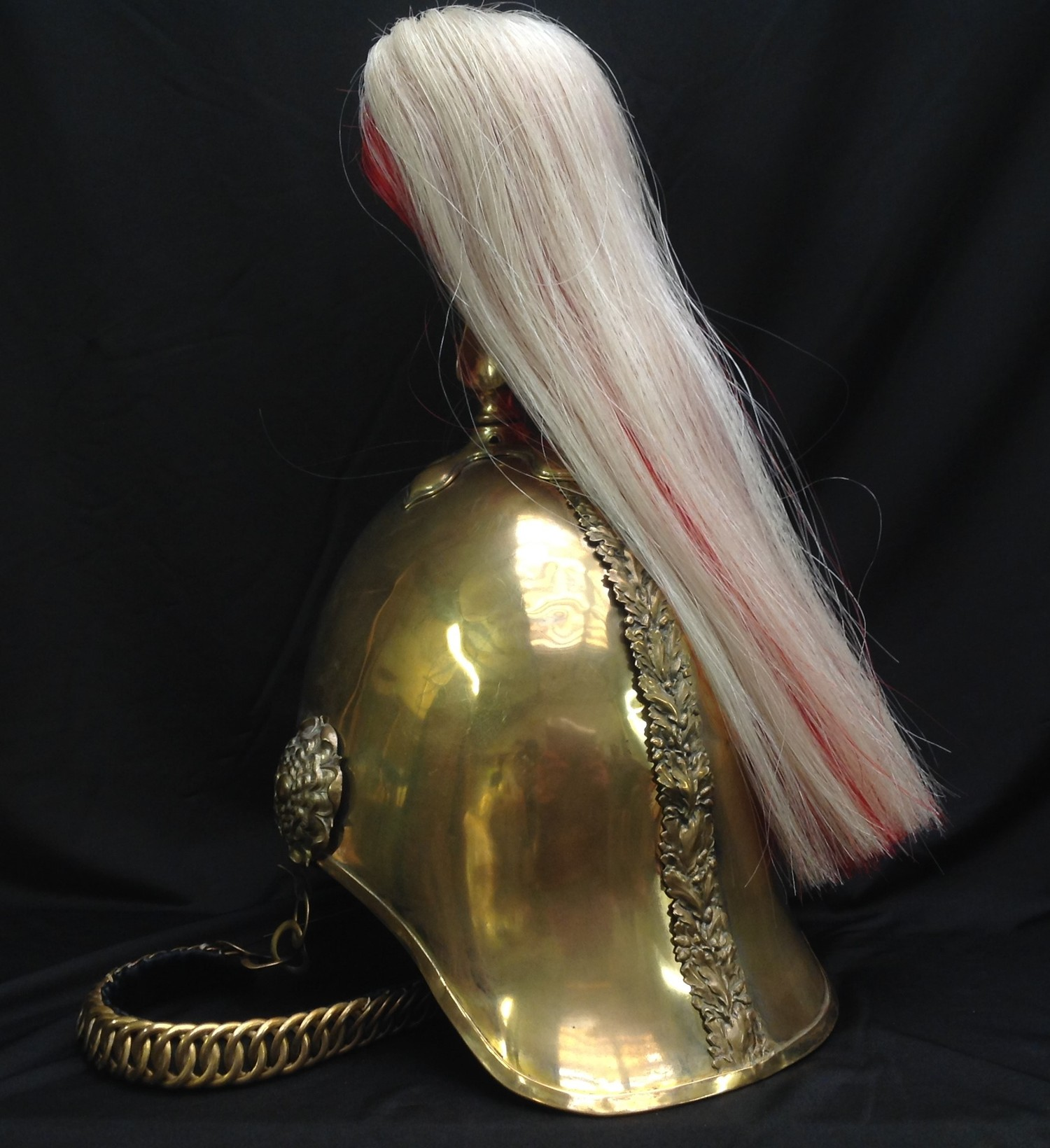 British Victorian 1871 Pattern Cavalry Helmet. Brass skull with 5th Princess Charlotte of Wales - Image 8 of 12