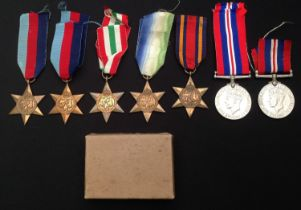 A collection of WW2 British Campaign Medals to include: 1939-45 Star x 2: British War Medal 1939-