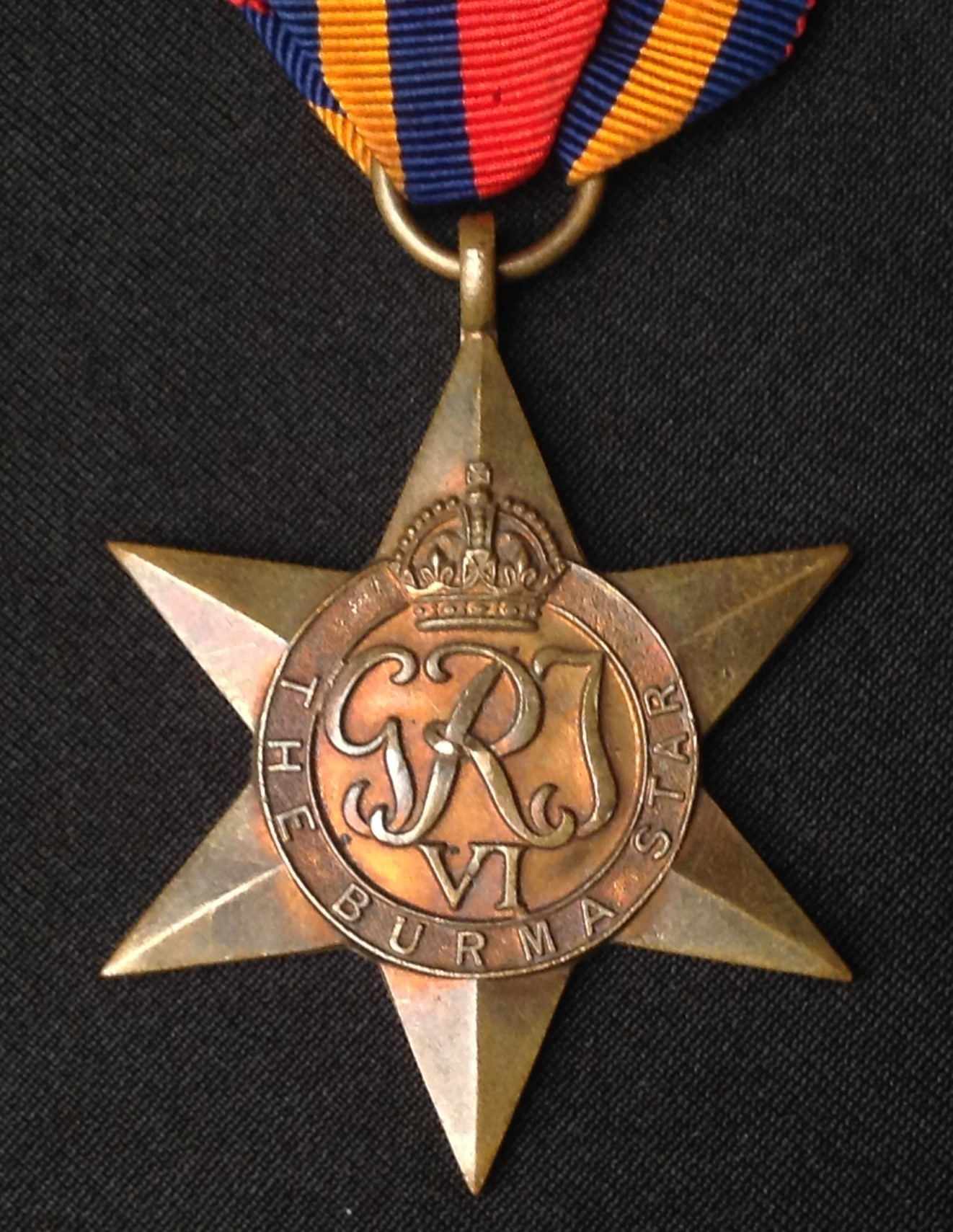 WW2 British Burma Star, Defence Medal and War Medal. All complete with original ribbons. - Image 2 of 3