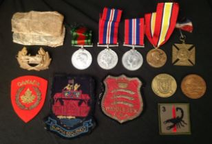 WW2 British War Medals x 2 with packets and a Defence Medal along with a selection of mixed