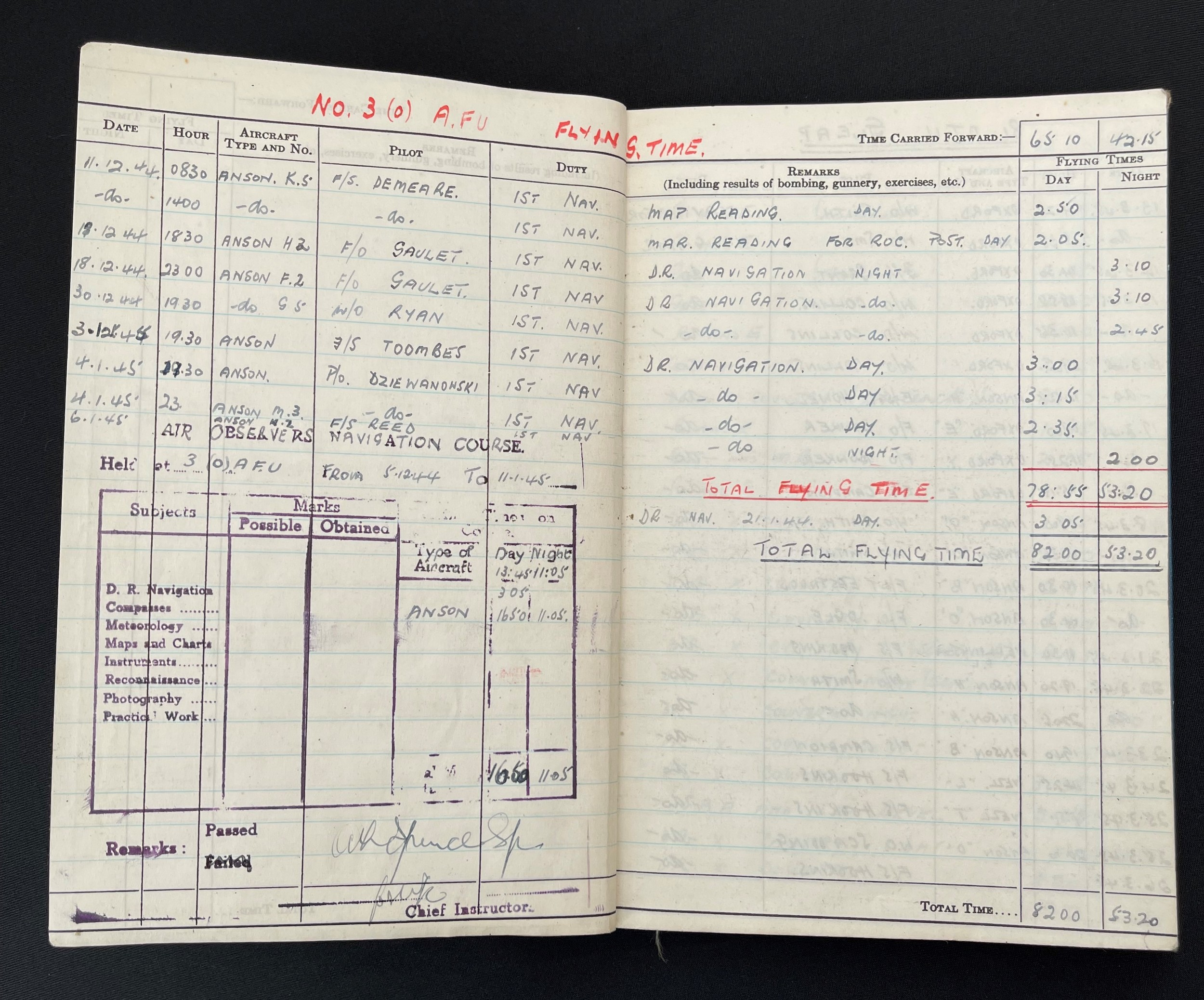 WW2 British RAF Navigators Log book, Service & Release Book and Medals to 1675907 Sgt Horace Street, - Image 5 of 11