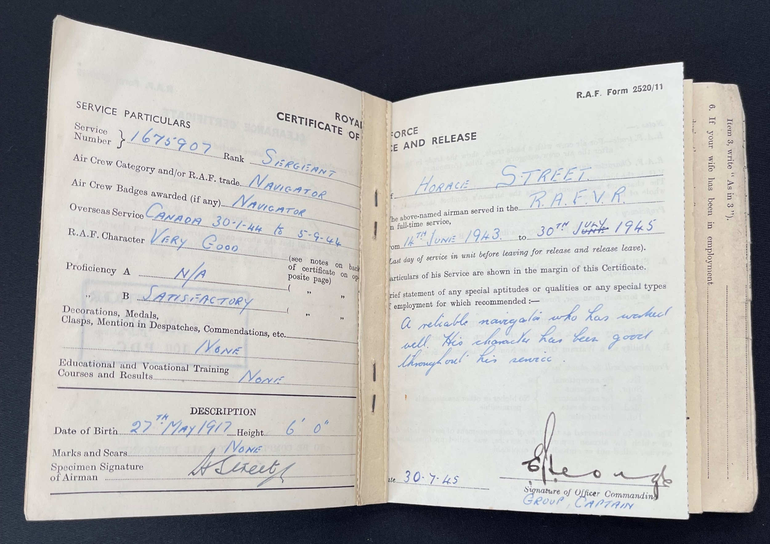 WW2 British RAF Navigators Log book, Service & Release Book and Medals to 1675907 Sgt Horace Street, - Image 9 of 11