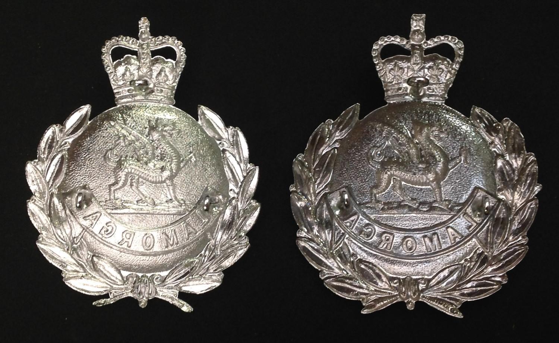 Kings Crown Glamorgan Police Helmet Plate: Queens Crown Glamorgan Police Helmet Plates x 2. Each - Image 4 of 4