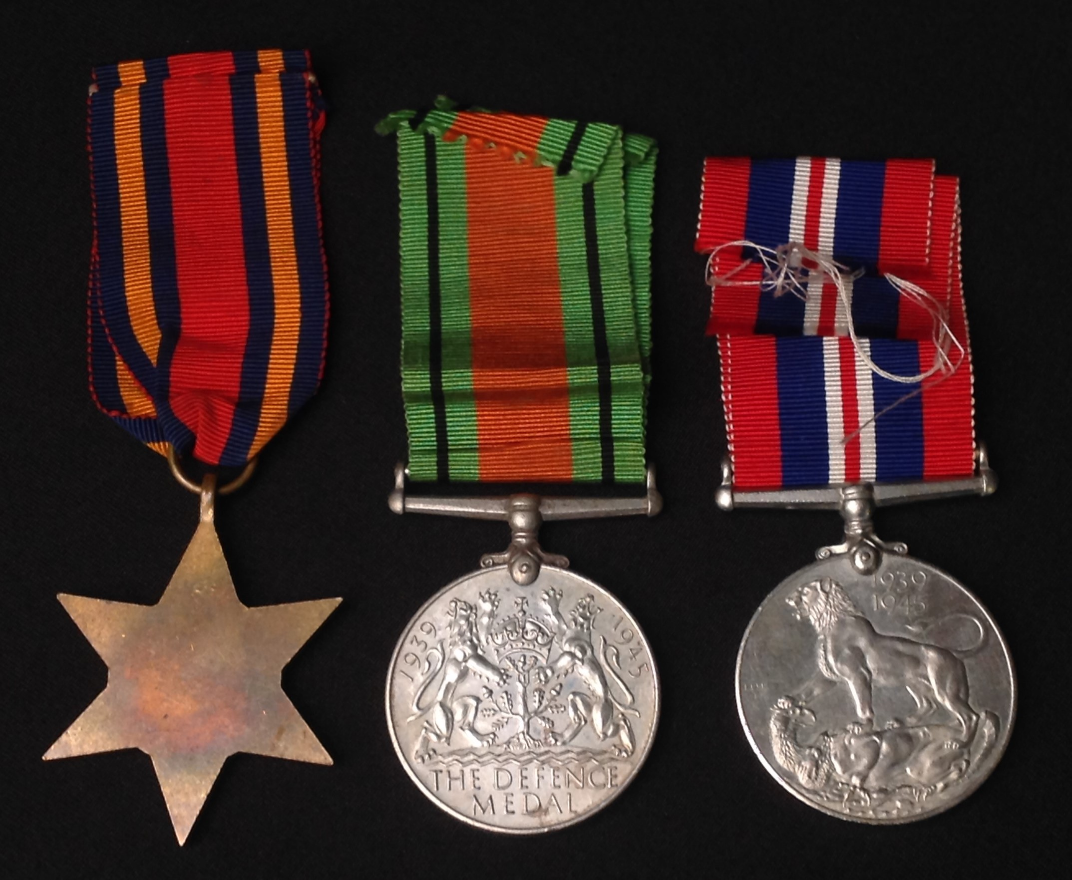 WW2 British Burma Star, Defence Medal and War Medal. All complete with original ribbons. - Image 3 of 3