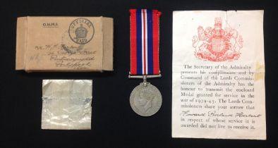 WW2 British War Medal 1939-45 Royal Navy Killed in Action awarded to Howard Borland Herbert.