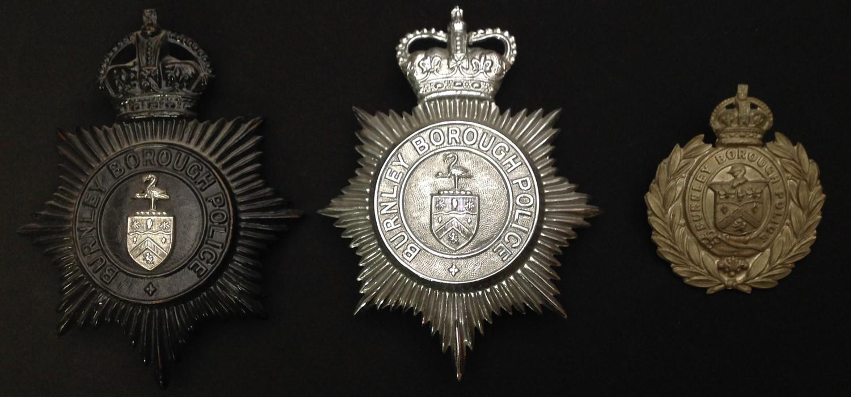 Kings Crown Burnley Borough Police Night Plate: Queens Crown Burnley Borough Police Helmet Plate: