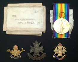 WW1 British Victory Medal to 9951 Pte CR Thompson, Notts & Derby Regiment in packet of issue with