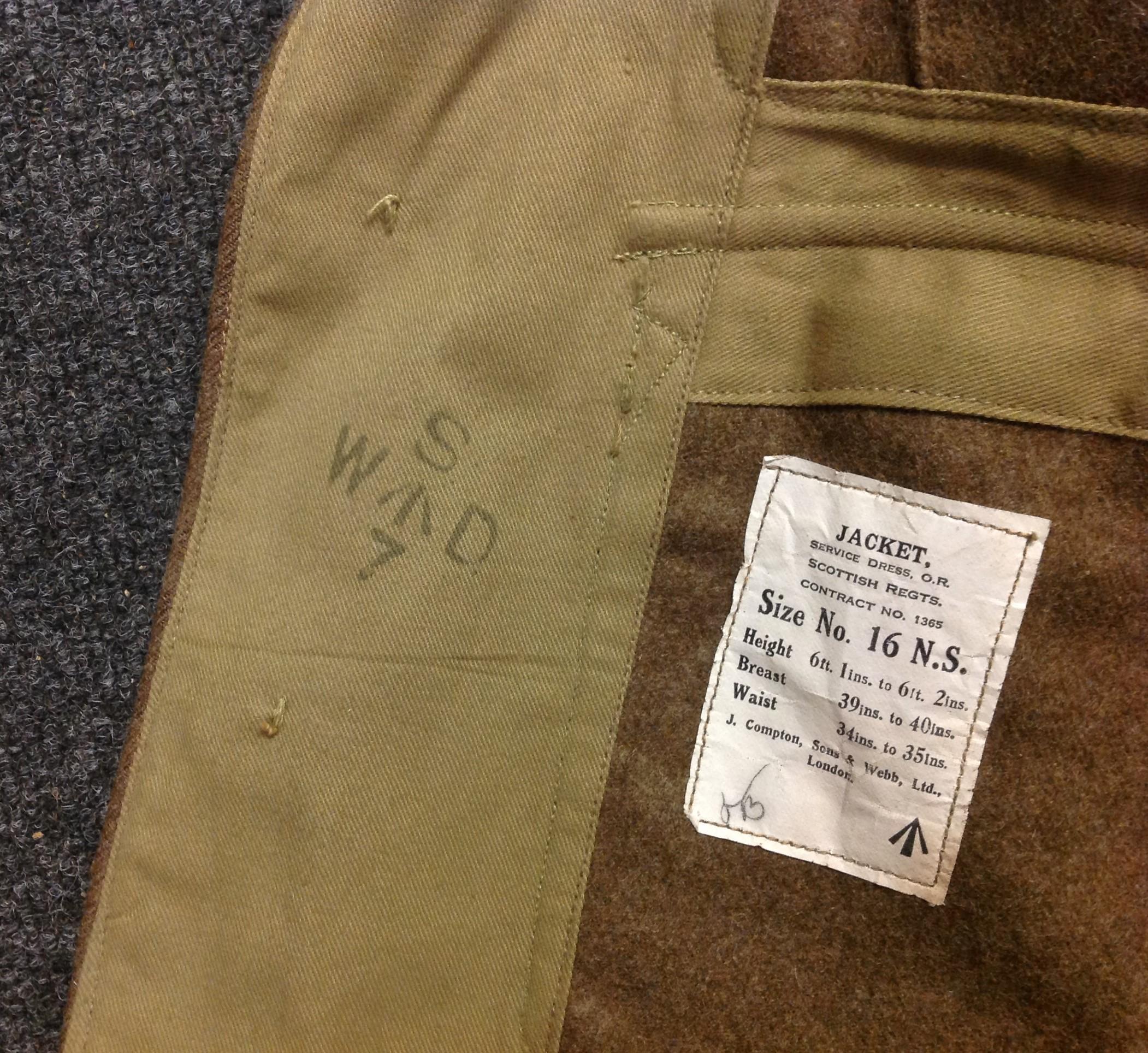 "WW2 British Jacket, Service Dress, OR Scottish Regiments. Size No 16 NS. Maker marked for ""J. - Image 5 of 5"