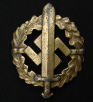 WW2 Third Reich Bronzes SA-Sportabzeichen - SA Sports Badge in Bronze. Issue number 958135. Maker