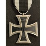 """WW1 Imperial German Iron Cross 2nd class 1914. Marked on ring """"B"""". Complete with ribbon. 44mm"""
