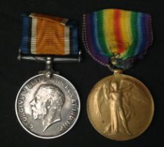 WW1 British War Medal and Victory Medal to G-13355 Pte F Morris, The Queens Regt. Complete with