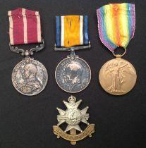 WW1 British Medal Group to 14812 Sjt ACSMjr S Hodkinson, 4/Notts & Derbyshire Regt comprising of