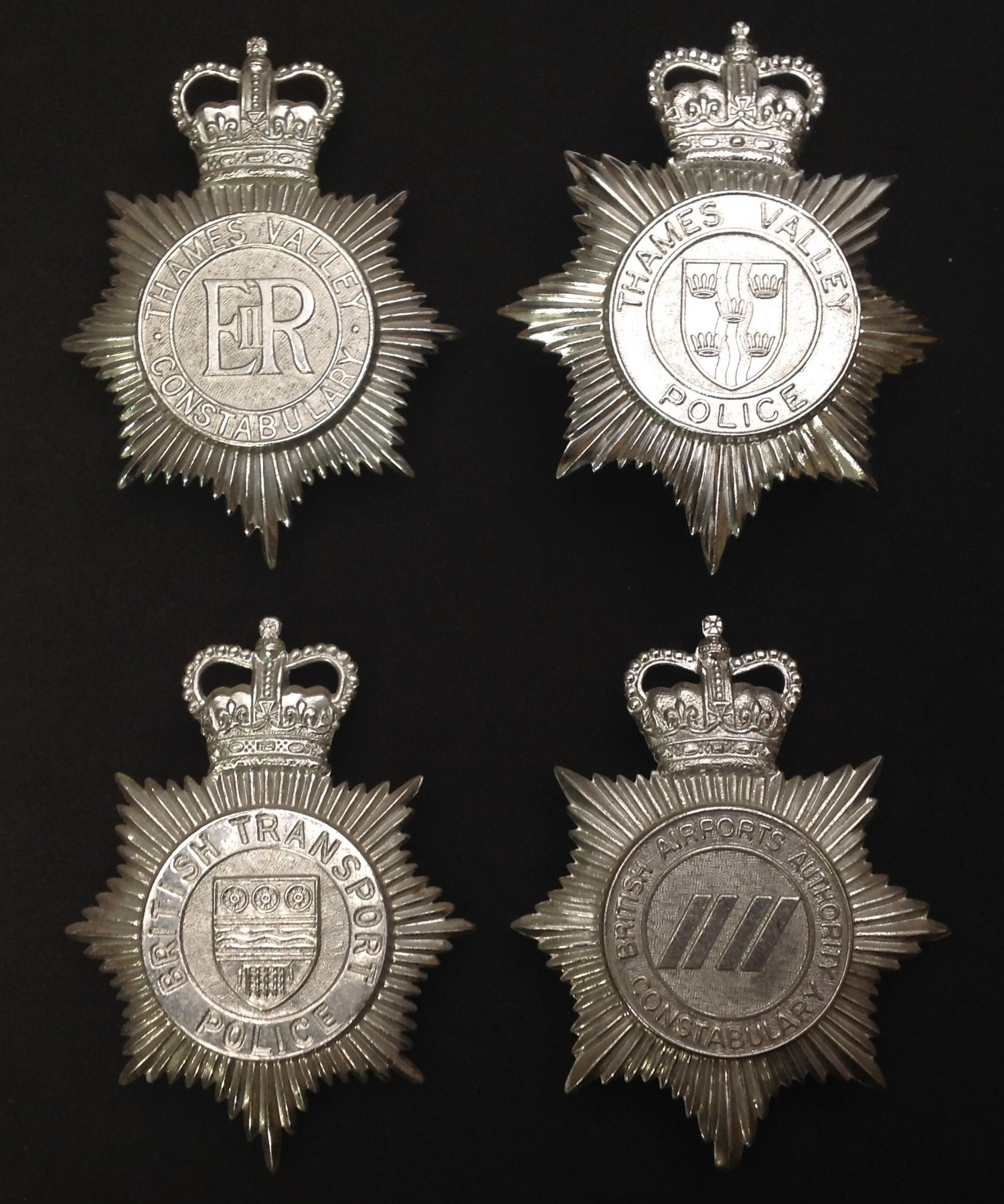 Queens Crown Thames Valley Police Helmet Plates x 2. Each has a different design to the centre of
