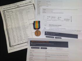 WW1 British Victory Medal to K16685 Albert Lennard Glass, SPO, RN Complete with original ribbon