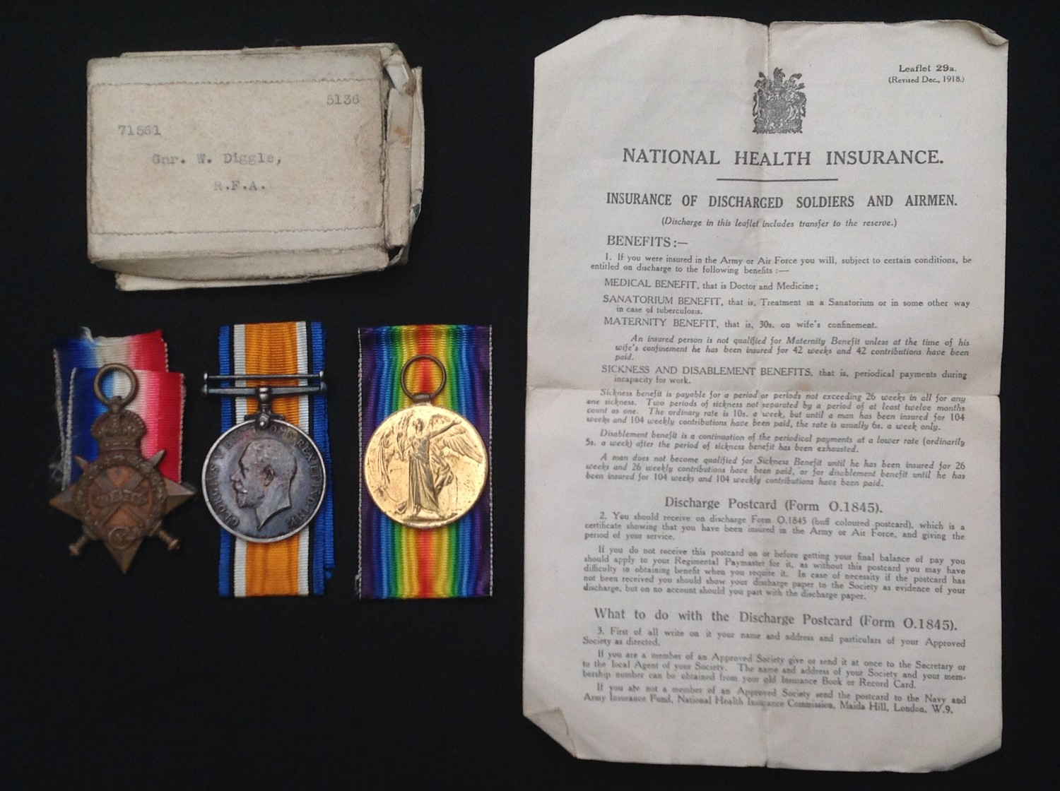 WW1 British Medal group to 71561 Gnr W Diggle, RFA, comprising of 1914-15 Star, British War Medal