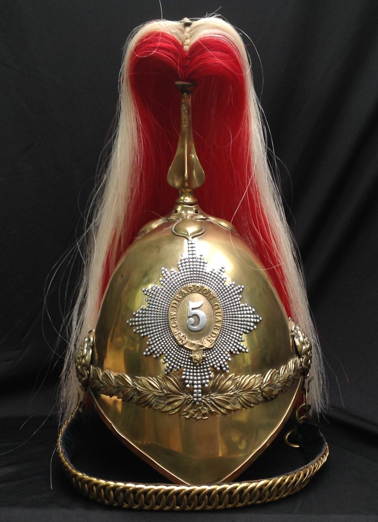British Victorian 1871 Pattern Cavalry Helmet. Brass skull with 5th Princess Charlotte of Wales