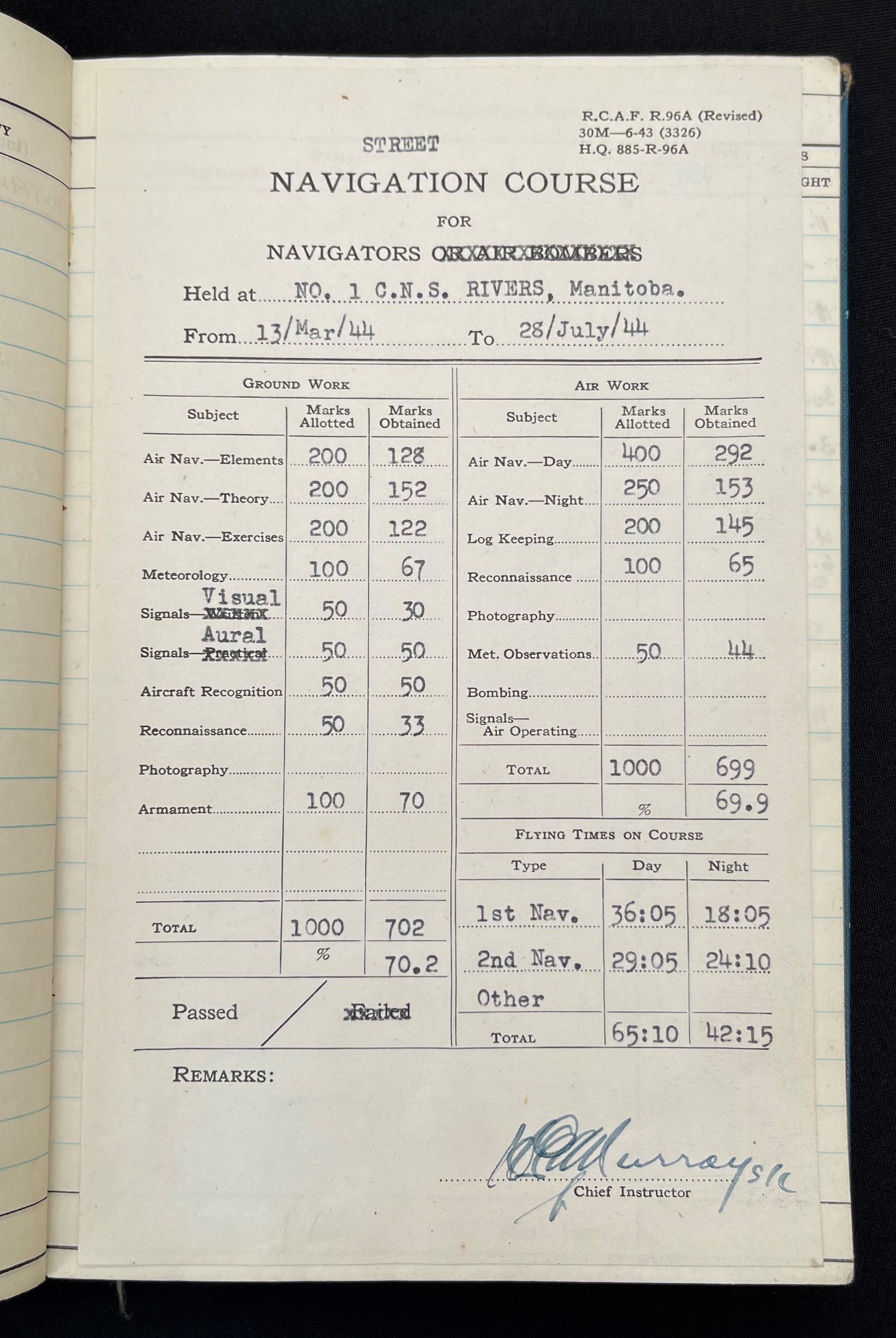 WW2 British RAF Navigators Log book, Service & Release Book and Medals to 1675907 Sgt Horace Street, - Image 4 of 11