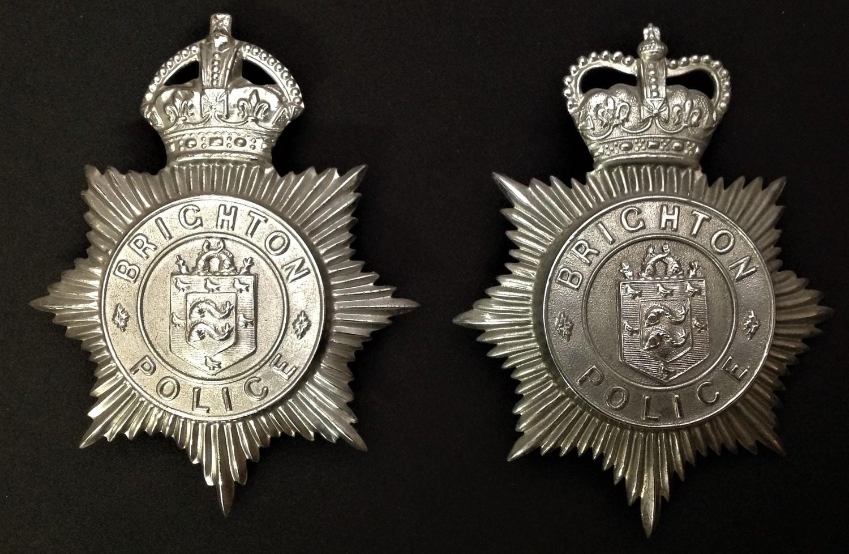 Kings Crown Brighton Police Helmet Plate and a Queens Crown Brighton Police Helmet Plate (2)