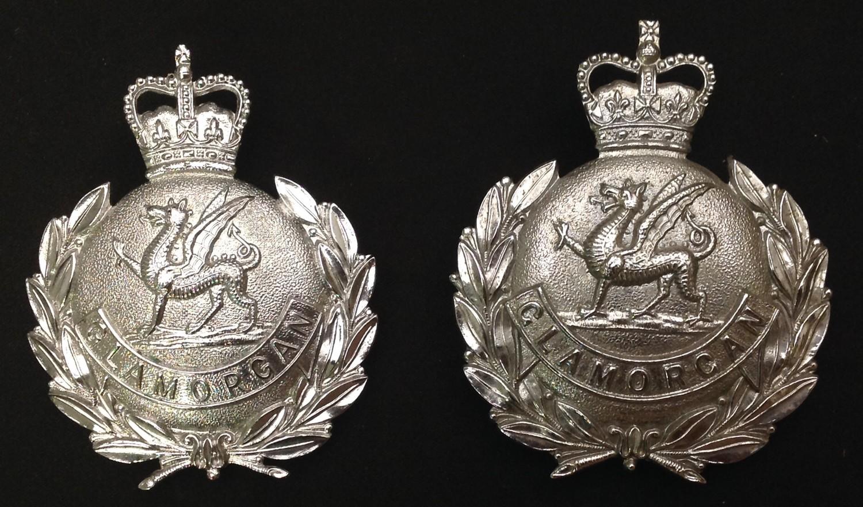 Kings Crown Glamorgan Police Helmet Plate: Queens Crown Glamorgan Police Helmet Plates x 2. Each - Image 2 of 4