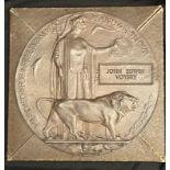 WW1 British Death plaque to John Edwin Voysey, complete in original cardboard box of issue. (35000