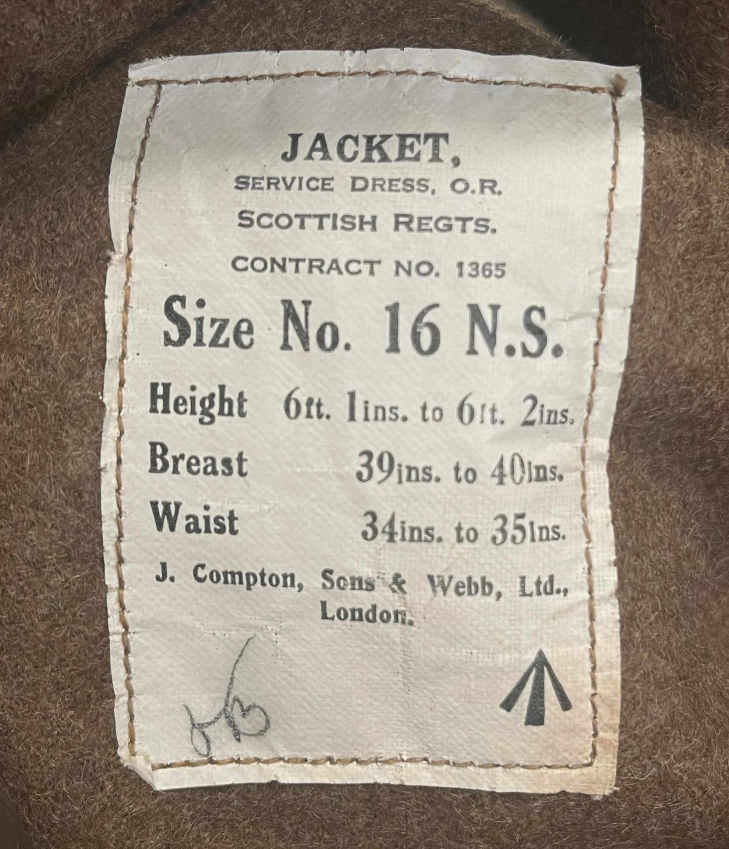 "WW2 British Jacket, Service Dress, OR Scottish Regiments. Size No 16 NS. Maker marked for ""J. - Image 2 of 5"
