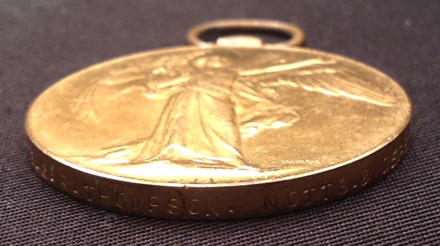 WW1 British Victory Medal to 9951 Pte CR Thompson, Notts & Derby Regiment in packet of issue with - Image 2 of 4