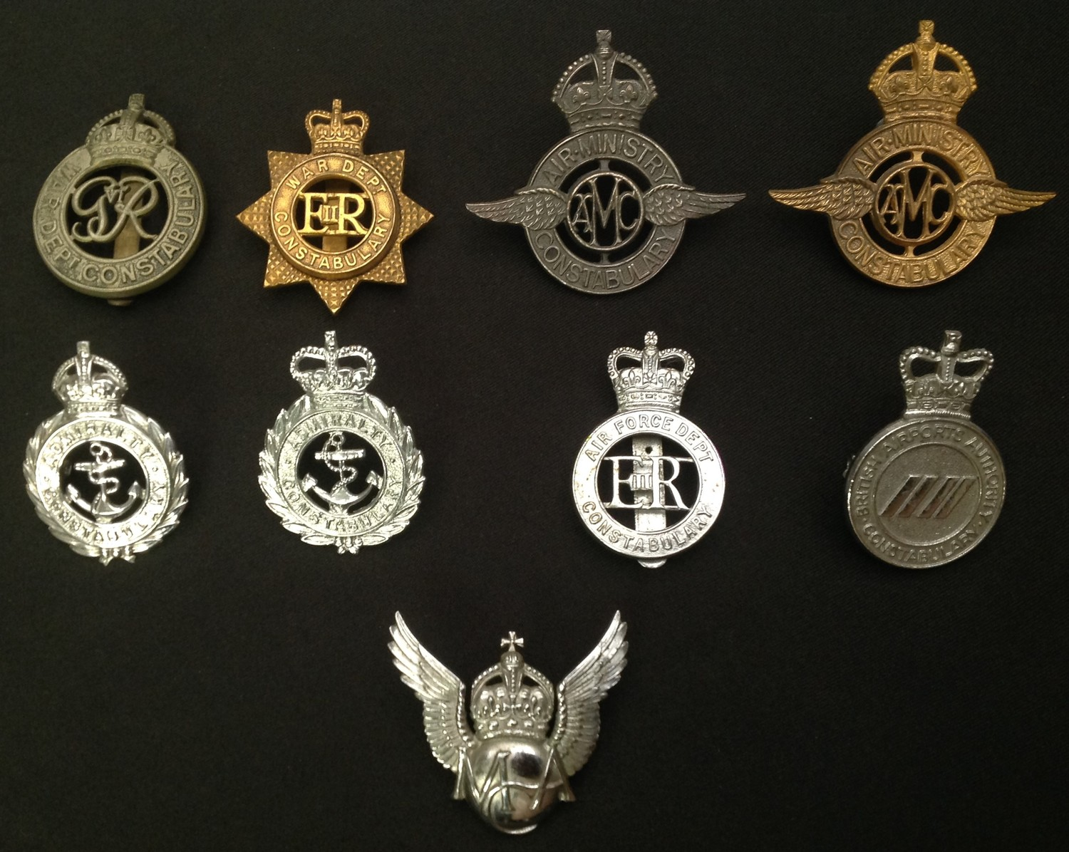 A collection of Military Police Cap badges: Kings Crown War Dept Constabulary GR VI: Queens Crown