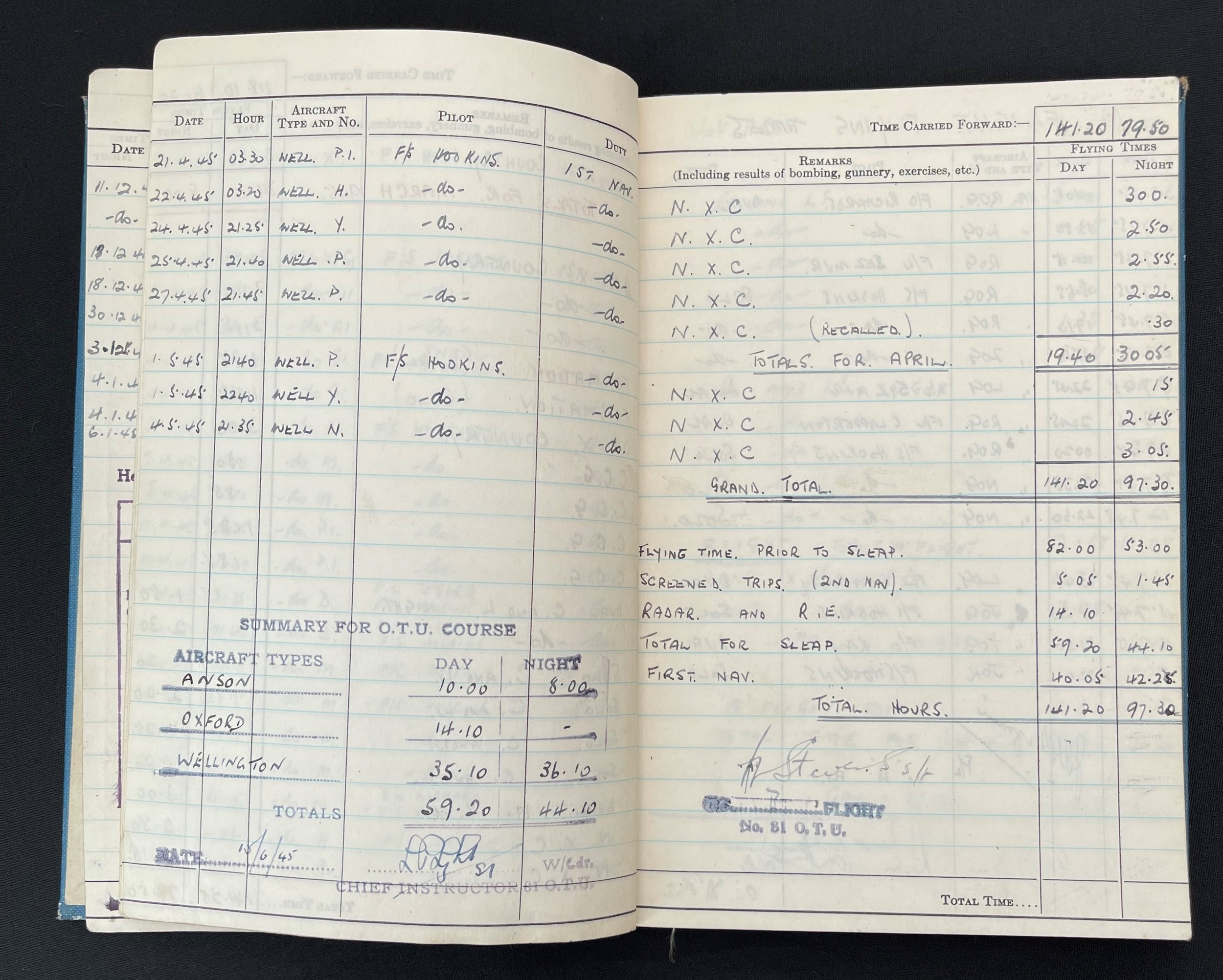 WW2 British RAF Navigators Log book, Service & Release Book and Medals to 1675907 Sgt Horace Street, - Image 6 of 11