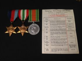 WW2 British RAF un-named medal group consisting of 1939-45 Star, Italy Star and Defence Medal. All